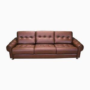 Mid-Century Danish Brown Cognac Leather 3-Seater Sofa, 1970s