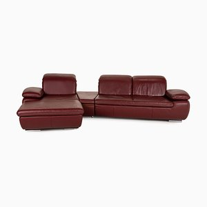 Clair Red Leather Corner Sofa from Mondo