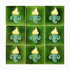 Art Nouveau Tiles by Gilliot Hemiksem, Belgium, 1930s, Set of 10