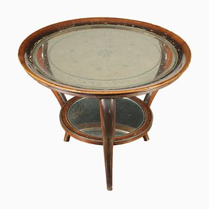 Stained Beech and Mirrored Glass Coffee Table, Italy, 1940s