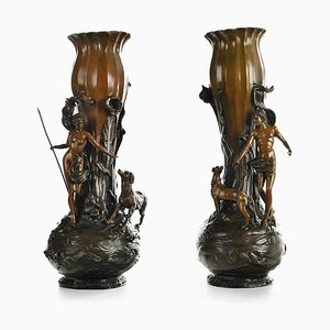 Bronze Vases by Moreau, Set of 2