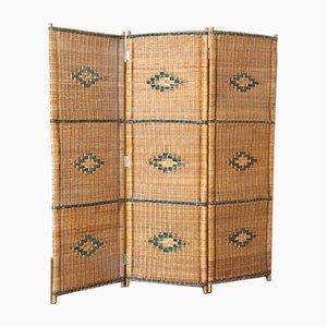 Vintage Wicker Folding Screen