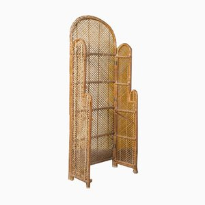 Vintage Bamboo and Reed Folding Screen