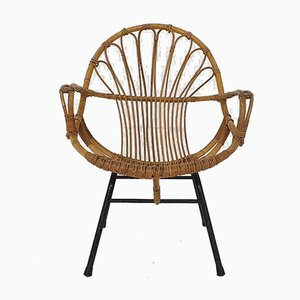 Rattan and Metal Lounge Chair by Rohe Noordwolde, The Netherlands, 1950s