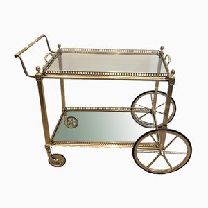 Neoclassical Style Brass Drinks Trolley from Maison Bagués, France, 1940s