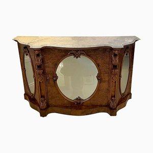 Antique Victorian Burr Walnut Marble Top Credenza