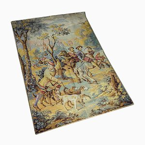 Large Antique French Tapestry with Hunting Scene