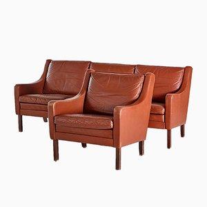 Danish Leather Living Room Set, Set of 2