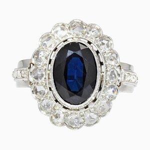 French Sapphire Diamonds 18 Karat White Gold Cluster Ring, 1925