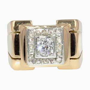 Diamonds 18 Karat Yellow Gold Platinum Square Tank Ring, 1940s