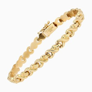 Modern 20 Karat Yellow Gold Crossed Links Bracelet