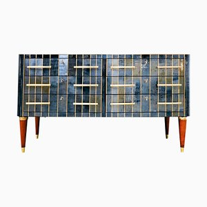Italian Chest of Drawers in Glass, Brass and Wood, 1950s
