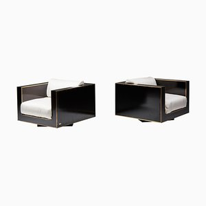 Cubic Lounge Chairs in Black and Brass from Maison Jansen, Set of 2