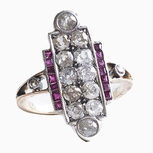 Art Deco Ring in 14K Gold and Silver With Diamonds (Approx.1.30ctw) and Rubies, 30s