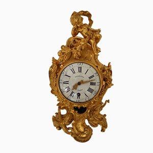 Louis XV German Gilt Bronze Clock by Jean-Joseph De Saint