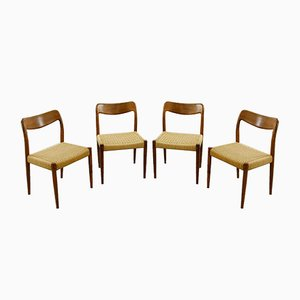 Teak Dining Chairs with Paper Cord Seats by Johannes Andersen for Uldum, Denmark, Set of 4