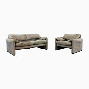 Maralunga 2-Seater Sofa & Lounge Chair by Vico Magistretti for Cassina, Set of 2