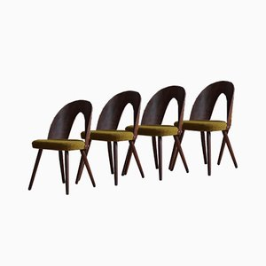 Mid-Century Dining Chairs in Kvadrat Honey-Olive Boucle by A. Šuman, Set of 4