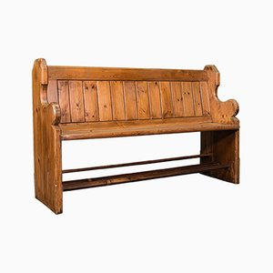 Antique Victorian English Bench or Pew in Pine, 1900s