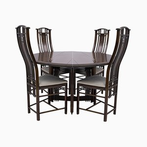 Round Dining Table and Gallery Chairs from Giorgetti, Italy, 1980s, Set of 5