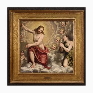 Antique Italian Painting of Christ, 17th Century