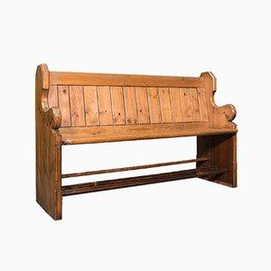 Antique Victorian English Pine Hallway Bench or Pew