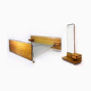 Bauhaus Chromed Tubular Steel Bedroom Set from Rudolf Vichr, 1940s, Set of 2