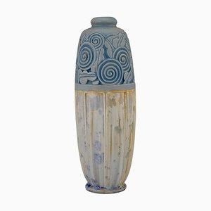 Art Deco Ceramic Vase with Stylized Flowers by Gaston Ventrillon for Mougin Nancy, 1920s