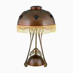 Art Nouveau Copper, Brass and Glass Cabochons Table Lamp from WMF, 1900s