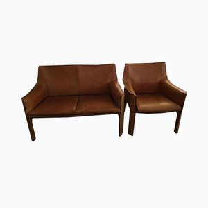 Models 415 & 414 Sofa and Chair by Mario Bellini for Cassina, Set of 2