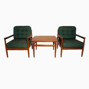 Poltrone con tavolino da caffè di Grete Jalk per France & Søn, Danimarca, anni '50, set di 3