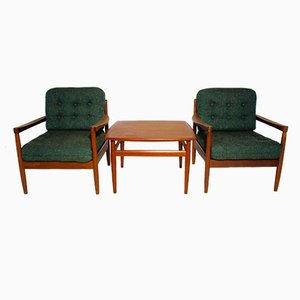 Sillones daneses con mesa de centro de Grete Jalk para France & Søn, años 50. Juego de 3