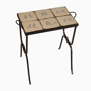 Mid-Century Art Deco Wrought Iron Side Table with 17th Century Dutch Tin Glazed Blue & White Delftware Tiles