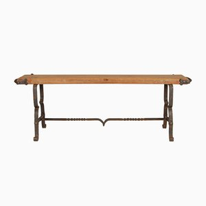 Mid-Century Industrial Handcrafted Wood and Wrought Iron Bench by Jacques Adnet