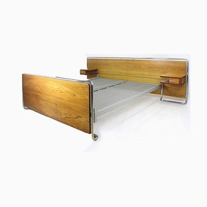 Bauhaus Chromed Tubular Steel Bed with Nightstands from Rudolf Vichr, 1940s