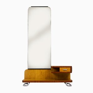 Bauhaus Chromed Tubular Steel Dressing Table with Mirror from Rudolf Vichr, 1940s