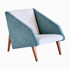 Armchair in Lelièvre Fabric and Beech Attributed to Gio Ponti, Italy, Late 1950s