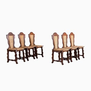 Dining Chairs in Oak and Rush Attributed to Victor Courtray, 1950s, Set of 6