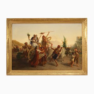 Antique Oil Painting on Canvas of Popular Scene, 19th Century