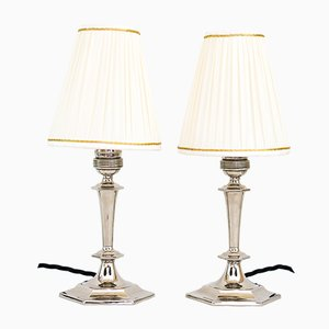 Art Deco Table Lamps with Fabric Shades, 1920s, Set of 2