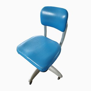 Industrial Blue Swivel Tanker Desk Chair by Gio Ponti for GoodForm