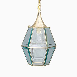 Art Deco Lantern with Original Cut Glasses, 1920s