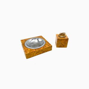 Briarwood & Brass Ashtray and Table Lighter Set, Italy, 1970s