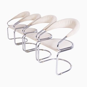 Chairs in Beige Cotton and Steel by Giotto Stoppino, Set of 4