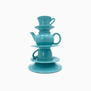 Blue Stacked Teacup Vase, Italy, 1980s