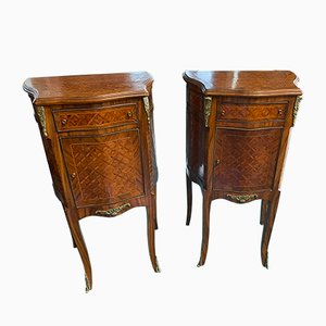 Louis XVI Inlaid Bedside Tables, Set of 2