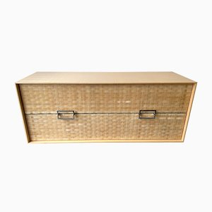Italian Chest of Drawers in Wood and Leather from Gasparucci Italo, 1980s