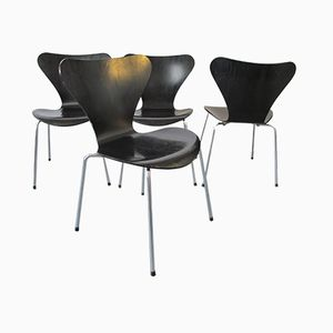 Series 7 Butterfly Dining Chairs by Arne Jacobsen for Fritz Hansen, 1987, Set of 4
