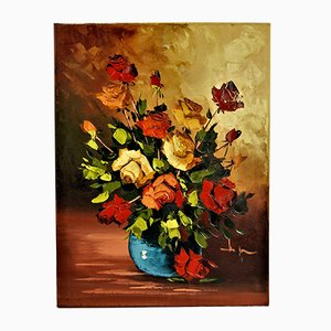 Vase with Roses, Signed Oil Painting