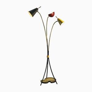 Tripod Metal Perforated Floor Lamp, France, 1950s